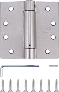 Pack of 3 - Residential Spring Hinge Door Hinge - Reversible - 4 Inch - Satin Nickel Finish - Squared Corners - Self Closing - by Dependable Direct