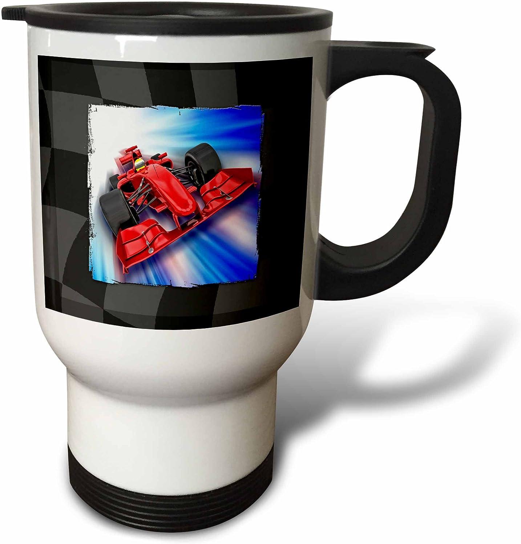 3dRose Formula 1 Racecar Travel Mug, 14 oz, White