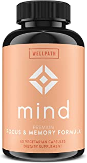 Mind Brain Supplement - Natural Formula to Boost Focus & Memory with Lion`s Mane, Ginkgo Biloba, and L-Theanine for Long T...