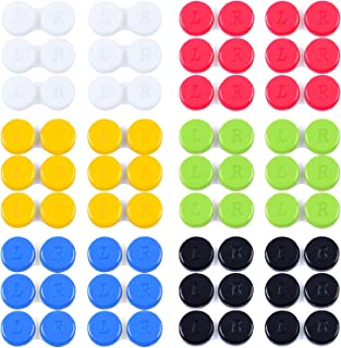 Elcoho 36 Pieces Contact Lens Case Colorful Contact Lens Case Box Holder Left/Right Eyes Contact Lens Travel Case Soak Storage Kit (Red, Yellow, Black, White, Green, Blue)