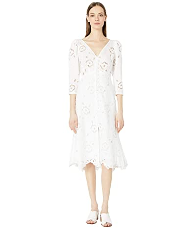 Rebecca Taylor Long Sleeve Terri Embroidered Dress (Milk) Women