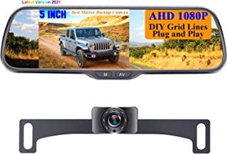 """$69 » Rohent N01 AHD 1080P Backup Camera with 5"""" Mirror Monitor 2021 New Chips Two Video Channels Driving Hitch Rear/Front View ..."""