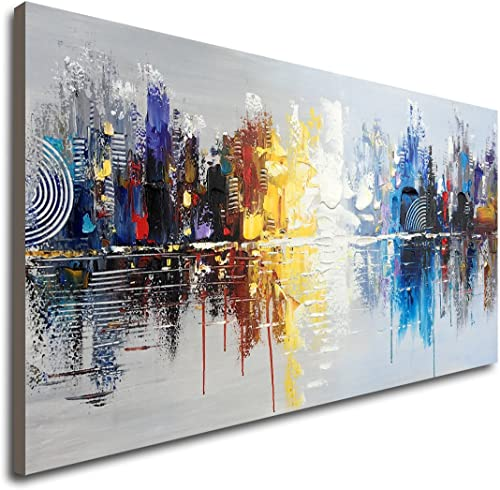 Large Hand Painted Abstract Reflection Cityscape Canvas Wall Art Modern Oil Painting Contemporary Decor Artwork (60 x...