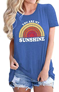 Women You are My Sunshine Hawaiian Beach Graphic T Shirts Vintage Tees with Sayings