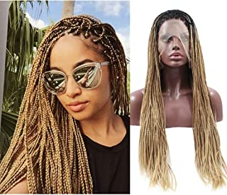 Shengqi Micro Braided Lace Front Wig Long Ombre Blonde Braided Synthetic Heat Resistant Fiber Wigs with Baby Hair For Women(24 Inch)