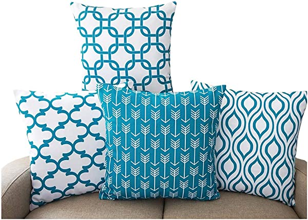 WarmTrendyHouse Set Of 4 Cushion Cover Simple Stylish Pillow Covers Polyester Linen Home Decor Pillowcase 18 X 18 Inch