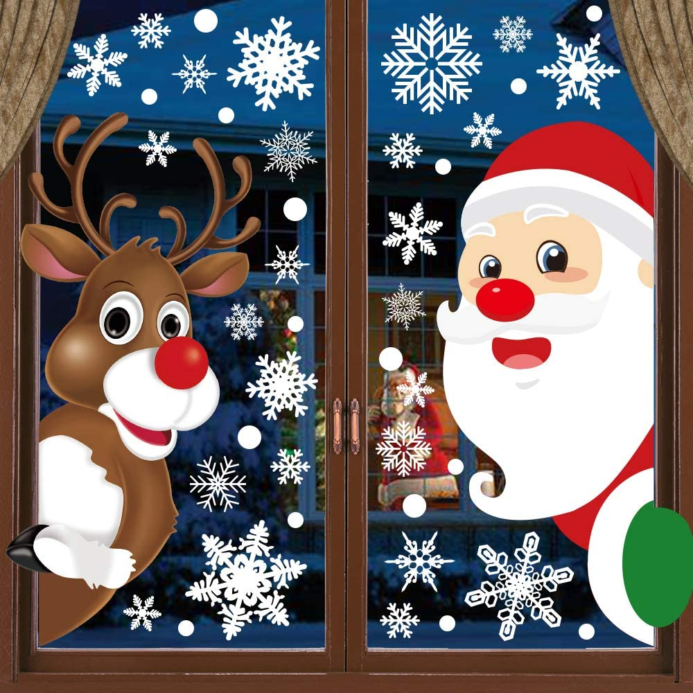 and More NEW Super SET Santa Classic Christmas Vintage Window Cling Set with Tree Ornaments Elves Snowflakes toys
