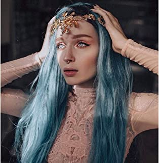 Vedar Sea Queen Greenish Blue Mermaid Lace Front Wigs Ombre Black Rooted Blue Hair Best Blue Wigs for Cosplay Celebrity Wigs 22 inches Middle Parting