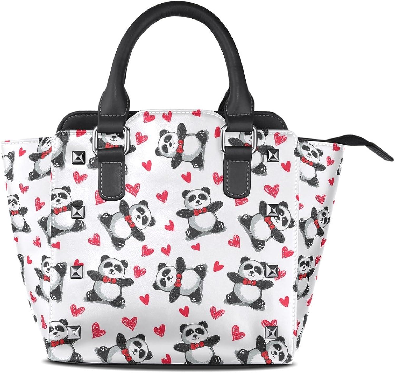 My Little Nest Women's Top Handle Satchel Handbag Panda Hearts Pattern Ladies PU Leather Shoulder Bag Crossbody Bag