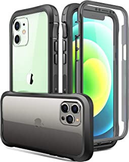 Luckymore Compatible with iPhone 12 Case,Compatible with iPhone 12 Pro 6.1 Inch with Screen Protector Built in (Black)