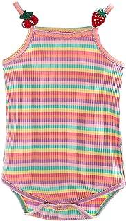 طفل قوس قزح شريط رومبير الرضع جولة الرقبة أكمام مثلث المنشعب ارتداءها بذلة مع الجناح الخلفي (Color : Pink, Kid Size : 6M)