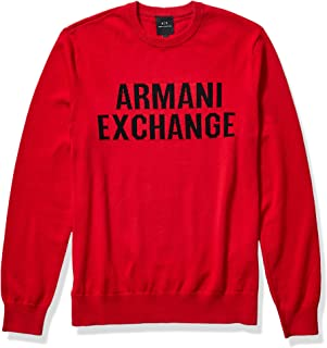 Armani Exchange Men's Cotton Crew Neck Pullover with Tonal Large Ax Chest Logo Sweater