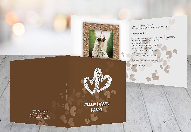 Kartenparadies Danksagung für Hochzeitsgeschenke Hochzeit Dankeskarte Liebesglück, hochwertige Danksagungskarte Hochzeitsglückwünsche Hochzeitsglückwünsche Hochzeitsglückwünsche inklusive Umschläge   10 Karten - (Format  145x145 mm) Farbe  braunmatsch B01NCXUDN6 | Verkaufsp 717db2