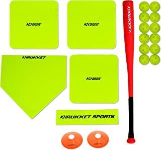 Rukket Baseball Bases Set for Backyard/Field   Softball Throw Down Base   Limited Flight Impact Baseballs and Foul Line Cones   Rubber Throwdown Home Plate and Pitching Mound