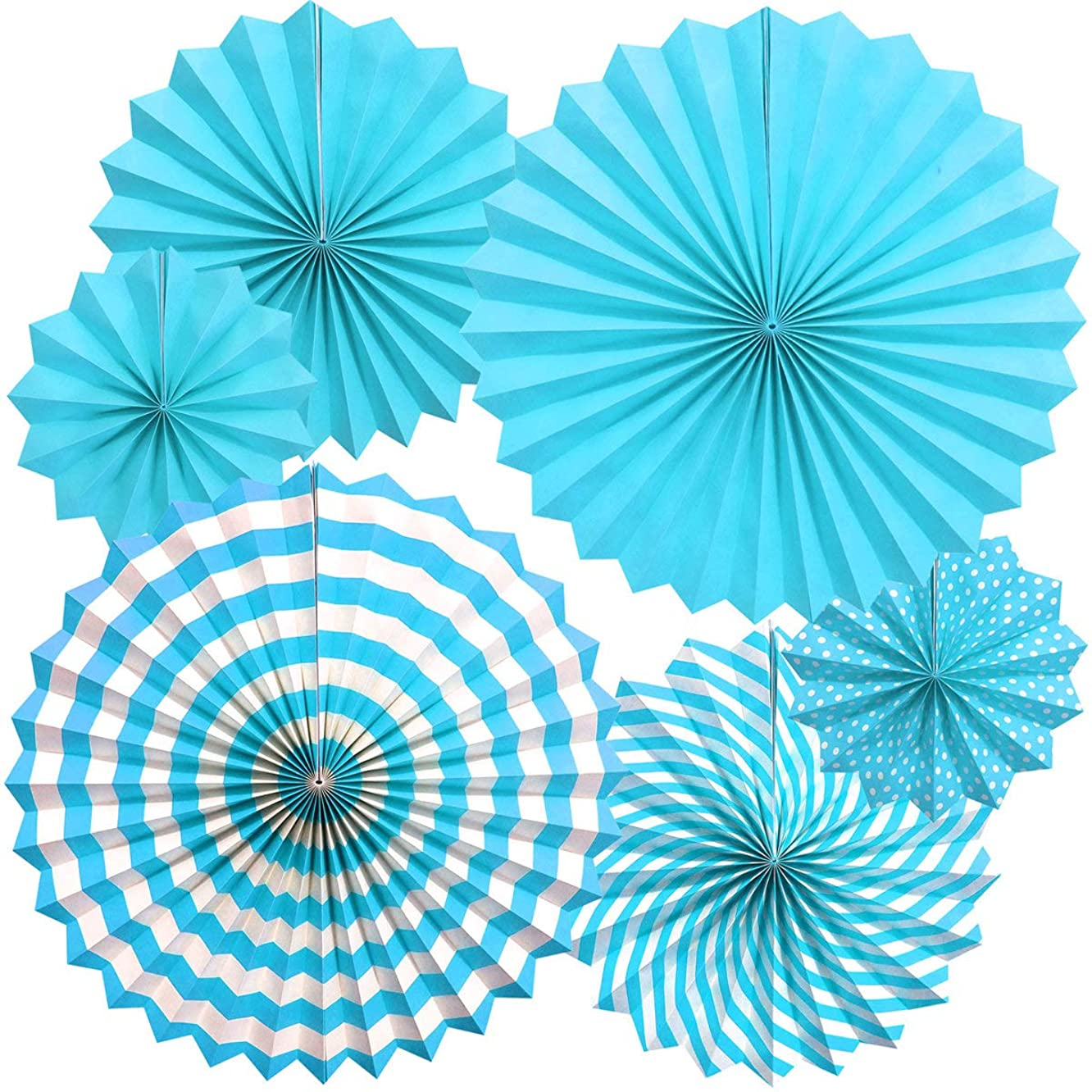 Zolee Hanging Paper Fans Decorations Kit for Wall - Set of 6 Circle Rosettes Tissue Paper Fans Bulk for Party Favors, Wedding, Birthday, Festival, Christmas, Events, Home Decor (Blue)