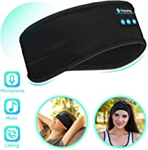 Bluetooth Sleep Headphones Eye Mask, Wireless Sports Headband Headphones with Detachable Stereo Thin Speaker for Sleeping, Sports, Meditation & Relax, Sports Headband (Black)