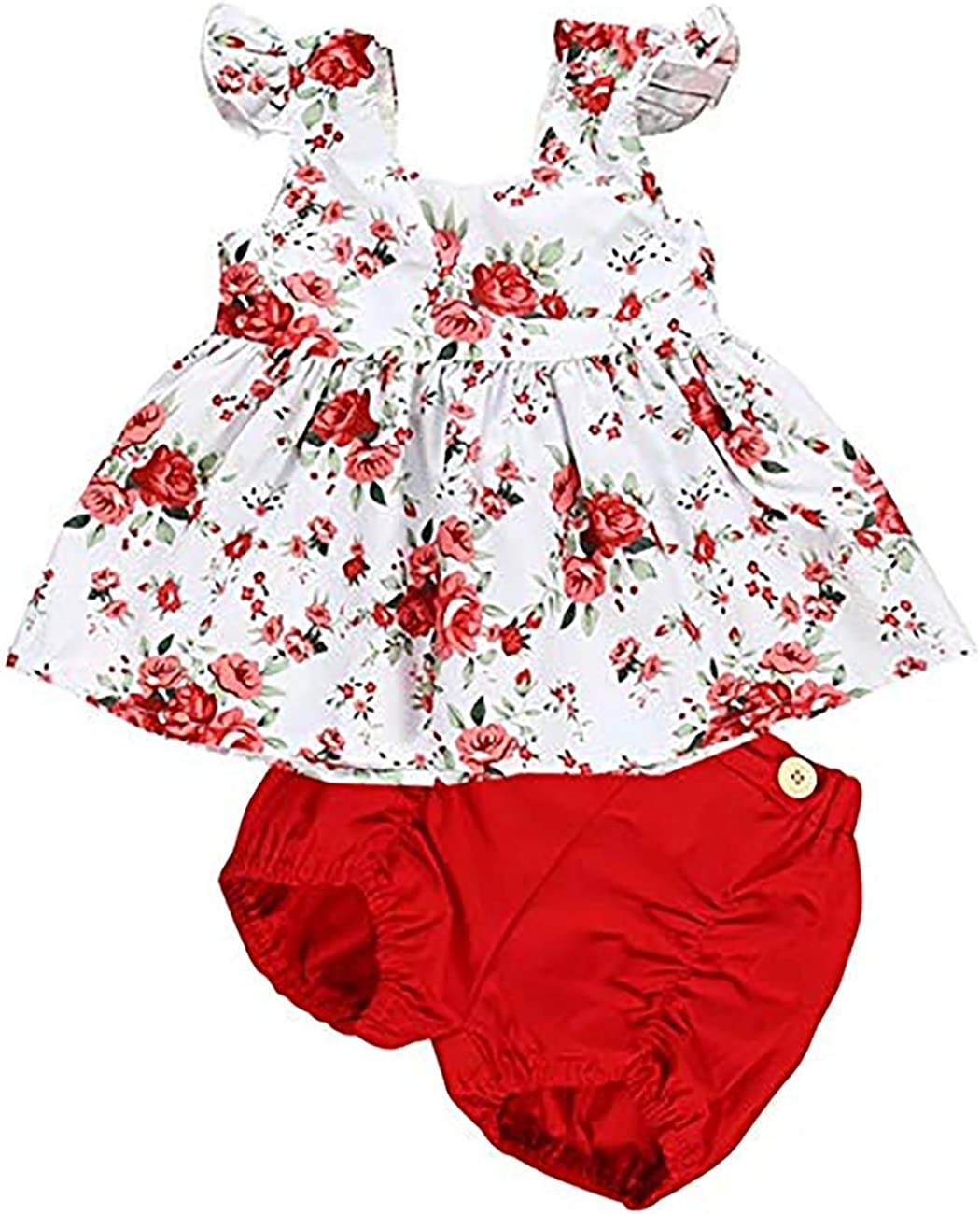 Baby Toddler Girl Clothes Infant Summer Floral Outfit Ruffle Sleeve T-Shirt with Bloomer Shorts…