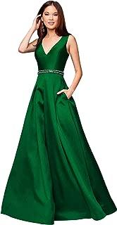 Zhongde Women's A-line V Neck Beaded Satin Floor Length Prom Dress Long Formal Evening Gown