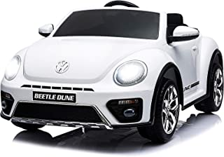 Uenjoy Volkswagen Beetle 12V Kids Electric Ride on Cars Battery Powered Motorized Vehicles, Remote Control, Music, Bluetooth, Suspension, Double Door, White