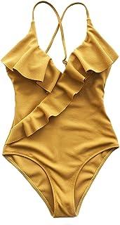 CUPSHE Mujeres Traje de baño de una Pieza de una Sola Pieza con Cuello en V de Volante Amarillo sólido