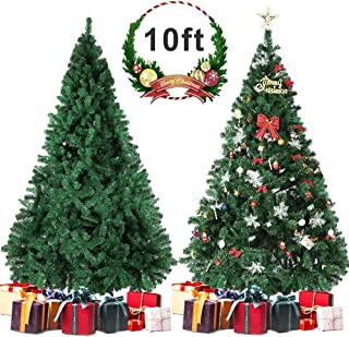 Besthls Artificial Christmas Tree, 10 FT Premium Green Christmas Tree with Solid Metal Stand and 100 Decorations,2150 Tips