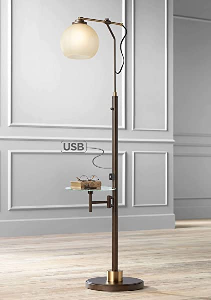 Jobe Modern Industrial Floor Lamp With Table Glass USB Charging Port Oiled Bronze Tea Glass Shade For Living Room Franklin Iron Works