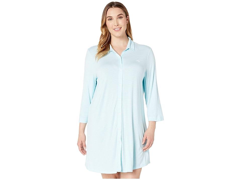 LAUREN Ralph Lauren Plus Size 3/4 Sleeve Short Sleepshirt (Aqua Stripe) Women
