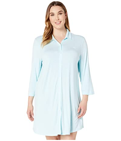 LAUREN Ralph Lauren Plus Size 3/4 Sleeve Short Sleepshirt (Aqua Stripe) Women