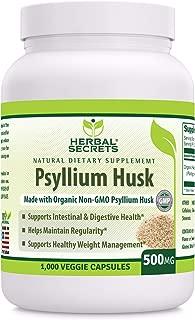 Herbal Secrets Psyllium Husk 500 Mg Veggie Capsules (Non-GMO) - Supports Intestinal & Digestive Health, Weight Management; Helps Maintain Regularity* (1000 Count)