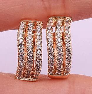 1 Pair 18K Gold Filled - Noble Multilayer Swirl Geometry Topaz Zircon Women Earrings