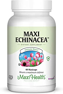 Maxi Health Echinacea - 4% Echinacosides Standardized Extract - Immune Boost - 60 Capsules - Kosher (QECH)