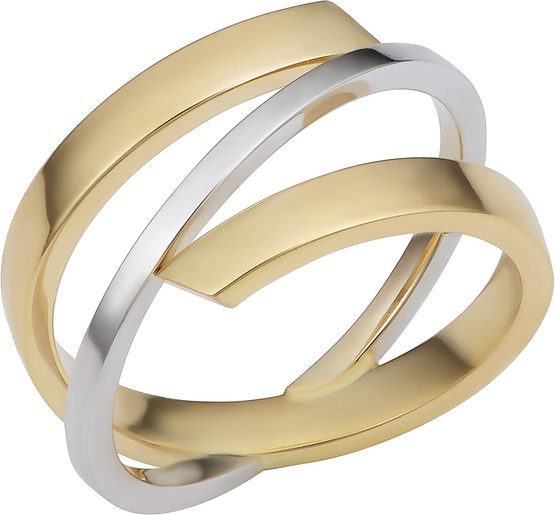 Kooljewelry 10k Two-Tone Gold High Polish Stylish Bypass Ring (Size 5, 6, 7, 8 or 9)