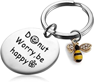 PLITI Bee Keychain Donut Keyring Donut Worry Be Happy Keychain Funny Happy Gift for Girls Motivational Gift for Women