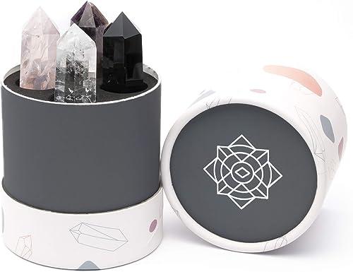 "Zenluma Healing Crystal Wand Set (2"") - Healing Crystals Kit Includes 4 x Crystal Points: Obsidian, Amethyst, Rose Qu..."