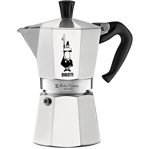 Bialetti The Original Moka Express - 6 Cup Stovetop Coffee Maker with Safety Valve - Brews