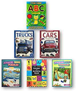 Sticker Books for Boys 4 - 8, 6-Pack of Sticker and Activity Books Themes Include Cars, Trucks, Animals, Jungle, Under the...