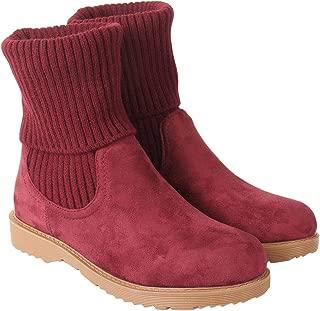 Flat n Heels Womens Maroon Boots FnH 159-1-MRN