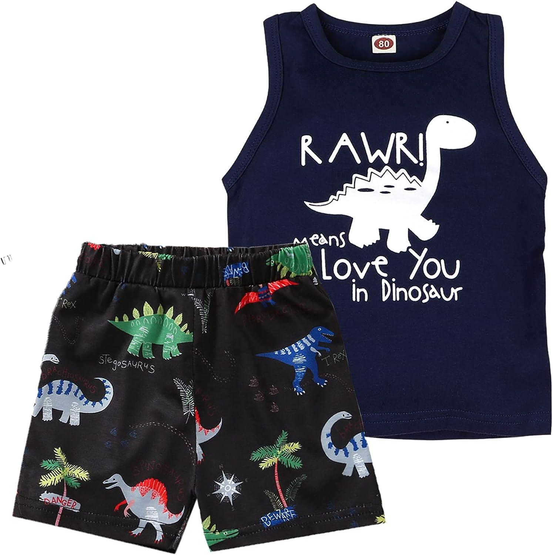 Ravmix Toddler Baby Boy Clothes Sleeveless T-Shirt Dinosaurs Shorts Set 2PCS Boy Summer Outfits