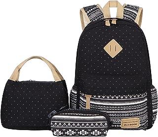 BLUBOON Teens Backpack Set Canvas Girls School Bags Bookbags 3 in 1 (Polka Dot Black)