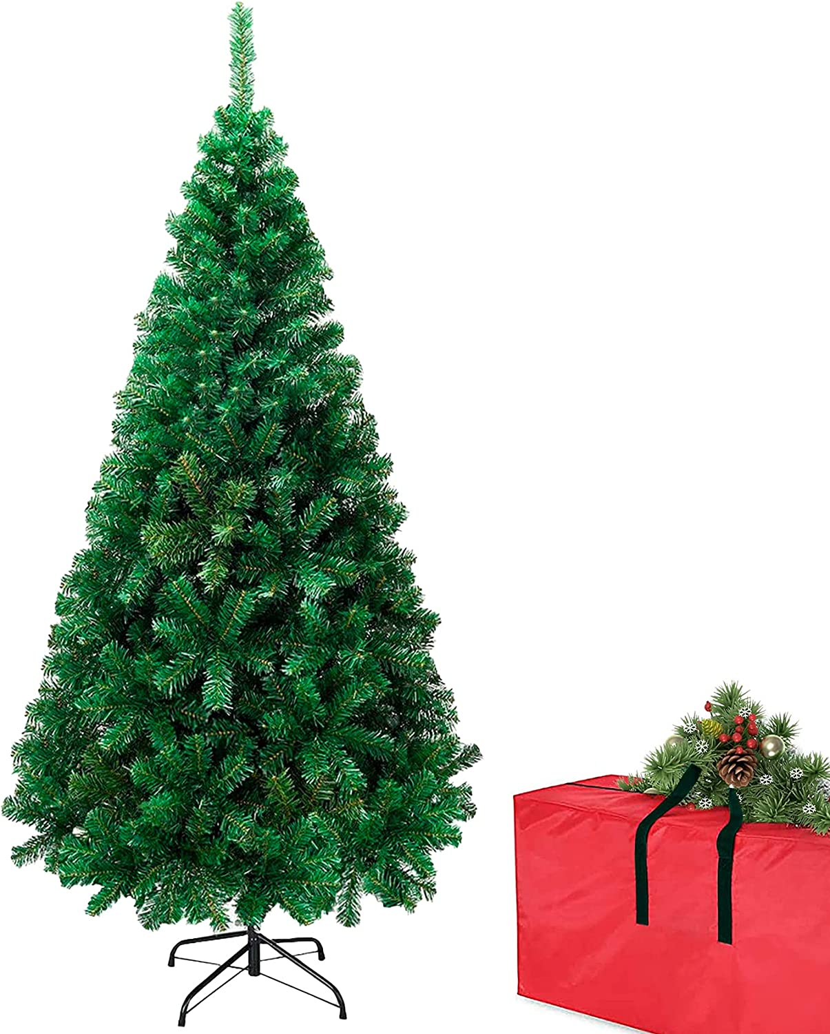 Christmas Artificial Tree Decorations, 5Ft Trees with Storage Bag, Easy Assembly Premium Spruce with 450 Branch Tips Decor for Holiday, Home, Indoor, Office, Arbolitos De Navidad Includes Metal Stand