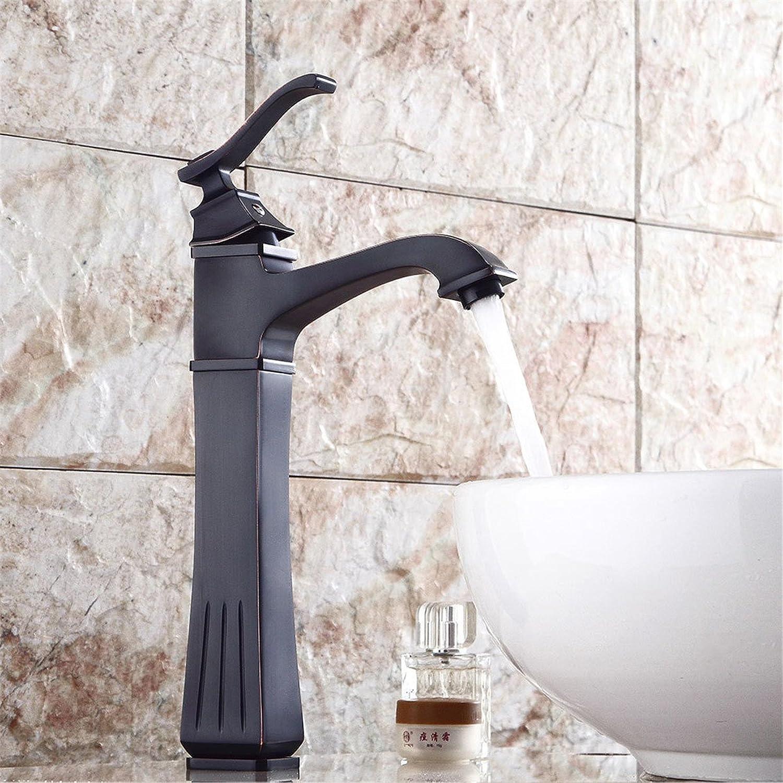 Bijjaladeva Wasserhahn Bad Wasserfall Mischbatterie Waschbecken Armatur für Antik Schwarz Waschbecken Wasserhahn Schwarz Quartett Oberflche Becken Becken und Kaltes Wasser Waschbe