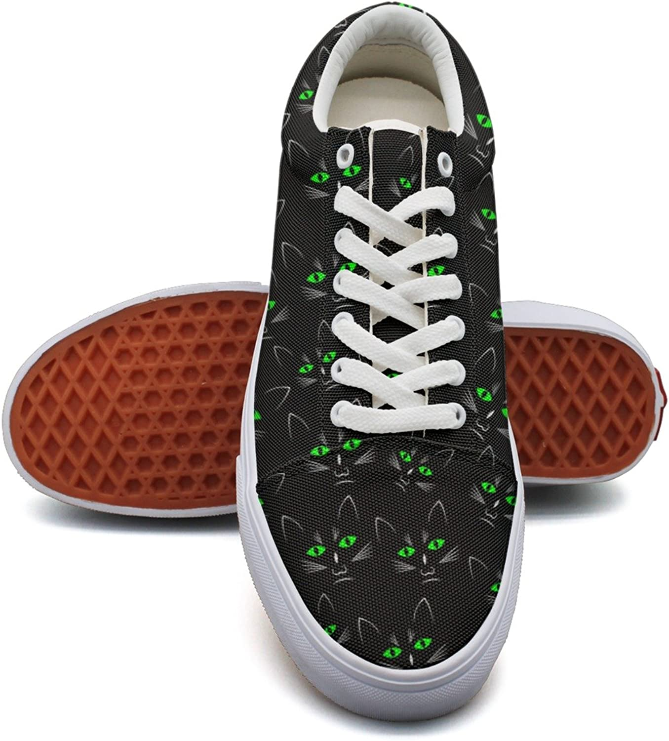 Feenfling Black Cats Green Light Eye Womens Casual Canvas shoes Low Top Cool Sneaker for Women Girls
