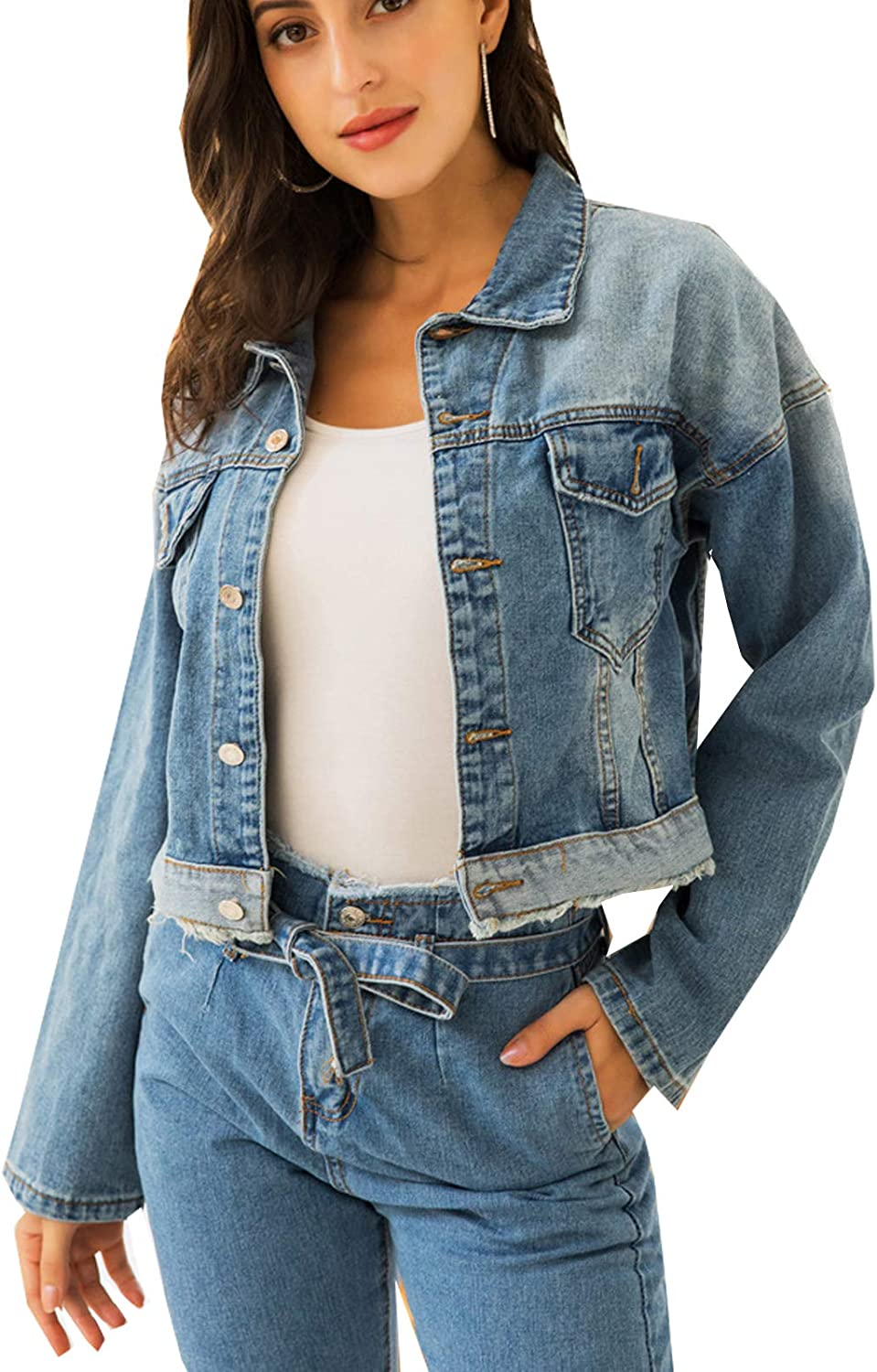 Women's Classic Basic Casual Button Down Denim Cropped Jacket With Pockets
