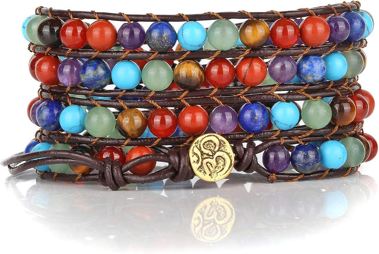 Top Plaza Bead Chakra Wrap Bracelet Healing Crystal Stone Natura