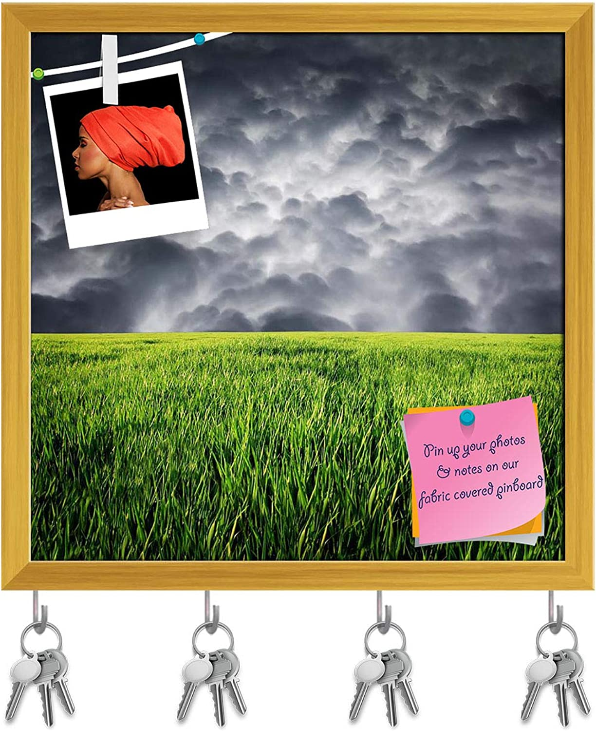 Artzfolio Green Grass & Storm Sky with Clouds Key Holder Hooks   Notice Pin Board   golden Frame 16.2 X 16Inch