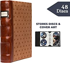 Bellagio-Italia DVD Storage Binder, Cognac - DVD Case Holds Up to 48 DVDs, CDs, or Blu-Rays - CD Holder Protects DVD Cover Art - Acid-Free CD Sleeves