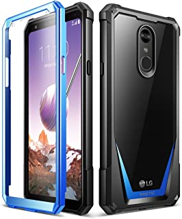 LG Stylo 4 Rugged Case, LG Stylo 4 Plus Rugged Case, Poetic Guardian [Revised Version][Scratch Resistant Back] [Built-in-Screen Protector] Full-Body Rugged Clear Bumper Case (2018) - Blue