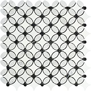 Carrara White Italian (Bianco Carrara) Marble Florida Flower Mosaic Tile with Black Marble Dots, Polished