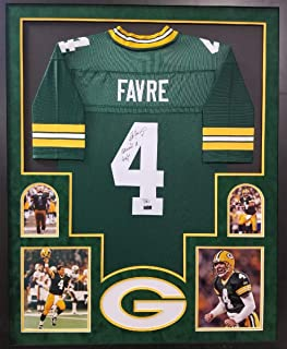 Brett Favre Green Bay Packers Autograph Signed Custom Framed Jersey Suede Mat Retired # Date Inscribed Favre Holo Fanatics Authentic Certified