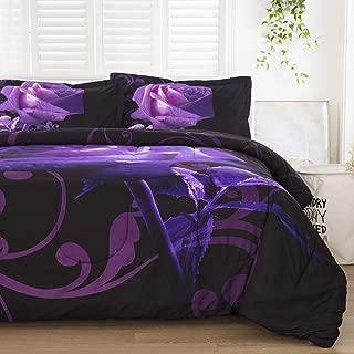 Purple Comforter Set Queen Reversible Purple Rose Pattern Printed Bedding Down Comforter Insert with 2 Pillow Cases for All Seasons,Soft Microfiber Inner Filling Comforter Duvet Set for Girls 90
